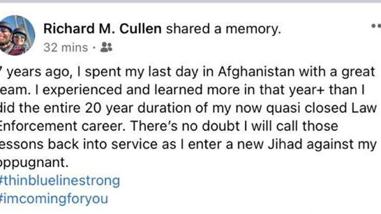 Cullen's since-deleted Facebook post, which the St. Ignace Police Department forwarded to Michigan State Police and the Attorney General's Office for investigation.