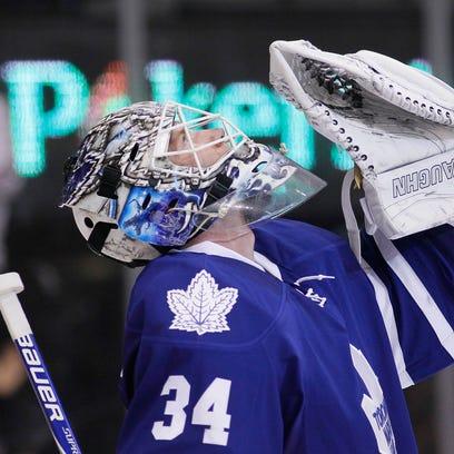 Toronto Maple Leafs goaltender James Reimer (34) reacts