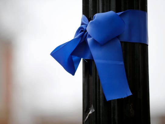 Blue ribbons are tied around trees and poles along