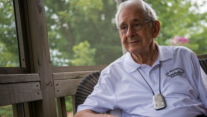Edgar Harrell, 92, the only living survivor Marine of the USS Indianapolis, sits on his patio in Clarksville.