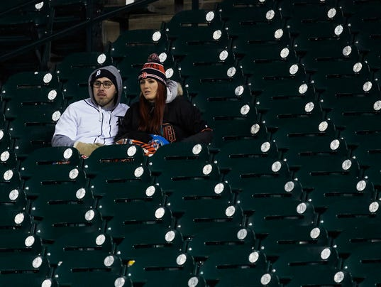 Detroit Tigers fans, Comerica Park weather