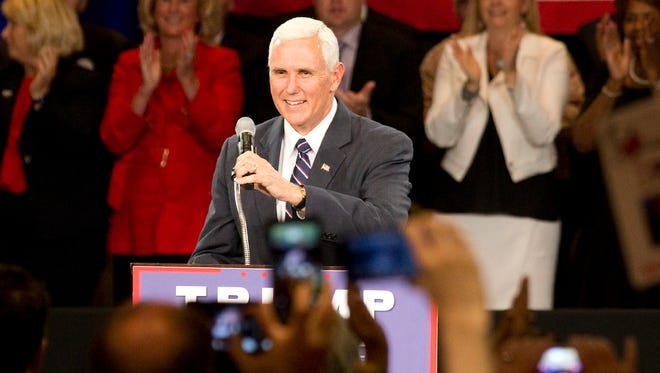 Republican Vice presidential candidate Gov. Mike Pence, R-Ind., speaks to the crowd before Republican presidential candidate Donald Trump comes on stage during the town hall meeting  at Hotel Roanoke on Monday July, 25, 2016, in Roanoke, Va.