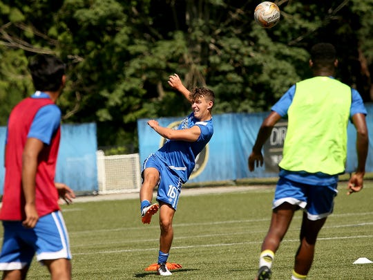 Jack Philp (center) and the rest of the Kitsap SC club are in prime position to clinch a playoff spot in their first season in the National Premier Soccer League.