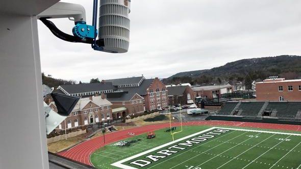 An outdoor Pixellot camera system mounted at Dartmouth's football stadium.