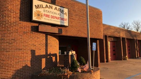 The current fire hall for the Milan Area Fire Department, built in about 1939 as a car dealership.