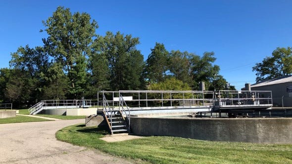 Wastewater treatment equipment is shown outside the Milan Wastewater Treatment Plant on Gump Lake Road.
