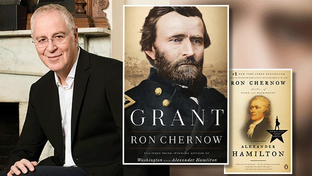 """Ron Chernow with his two biographies: """"Grant"""" and """"Alexander Hamilton."""""""