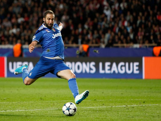 Juventus' Gonzalo Higuain scores a goal during the Champions League semifinal first leg soccer match between Monaco and Juventus at the Louis II stadium in Monaco, Wednesday, May 3, 2017. (AP Photo/Claude Paris)