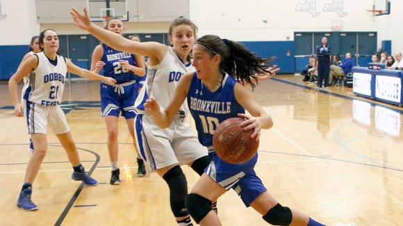 Bronxville's Brooke Tatarian drives the baseline during the Broncos' 54-50 win over Dobbs Ferry at Dobbs Ferry High School on Tuesday. Tatarian scored a team-high 15 points, all in the second half, to help Bronxville dig out of a 13-point hole at halftime.