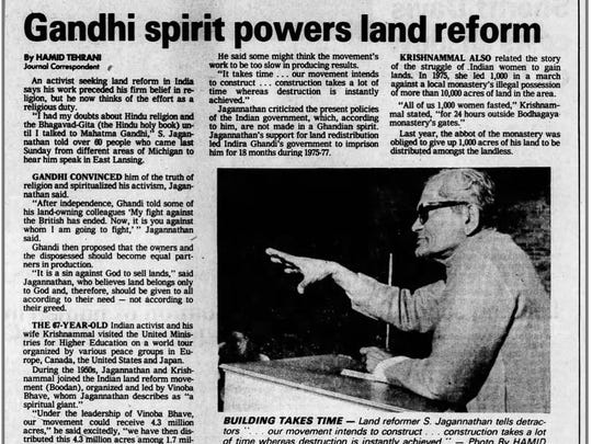 This image shows a clip from a September 1982 issue of the Lansing State Journal in which Hamid Tehrani penned an article about an Indian activist who spoke at Michigan State University.