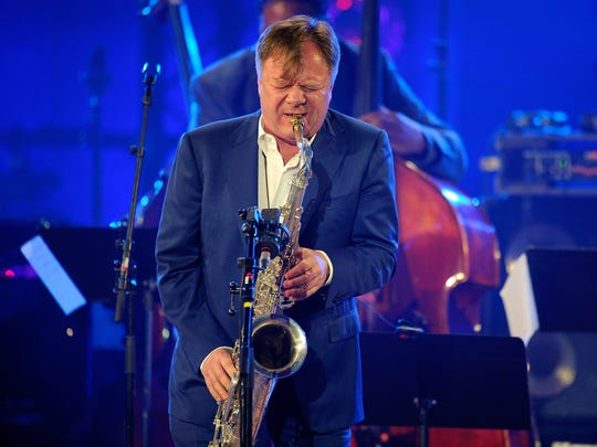 Igor Butman performs on stage during the International Jazz Day 2015 Global Concert at UNESCO on April 30, 2015 in Paris, France.