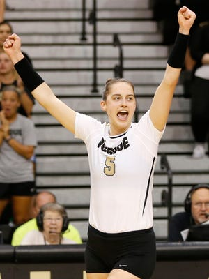 Ashley Evans reacts to a Purdue point scored against Northwestern in the second set Wednesday, September 20, 2017, at Holloway Gymnasium on the campus of Purdue University. Purdue swept Northwestern 25-18, 25-20, 25-18.