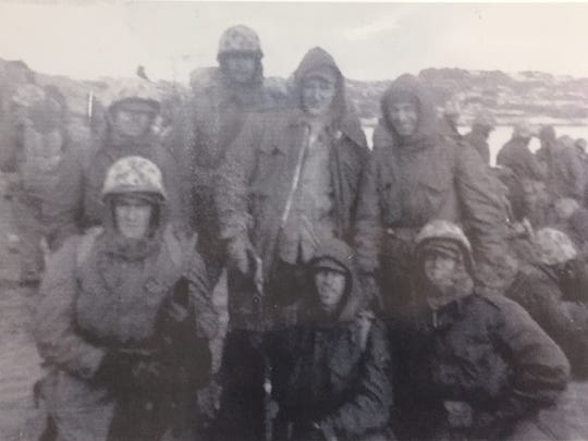 U.S. Marine Corps veteran Al De Vito (bottom left) at the Chosin Reservoir during the Korean War.