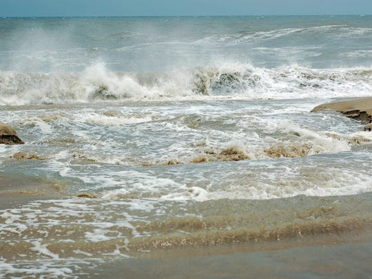 A riptide is shown in Ocean City, Maryland.