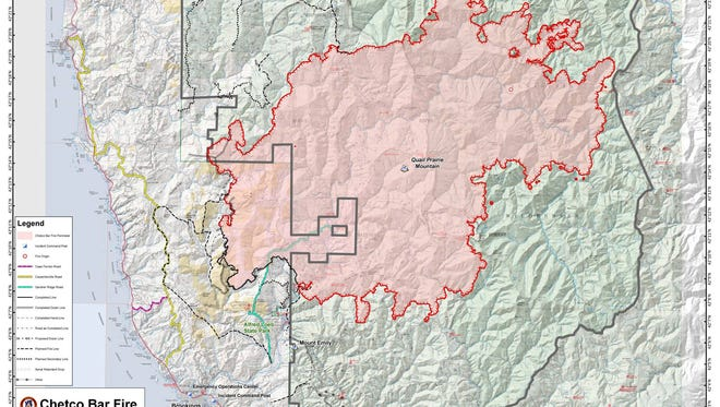 A map of the Chetco Bar Fire as of Friday night.