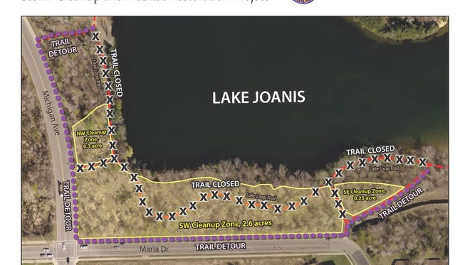 A portion of the trail for the University of Wisconsin-Stevens Point's Schmeeckle Reserve, along the southwest side of Lake Joanis is closed this week for storm cleanup and habitat restoration.