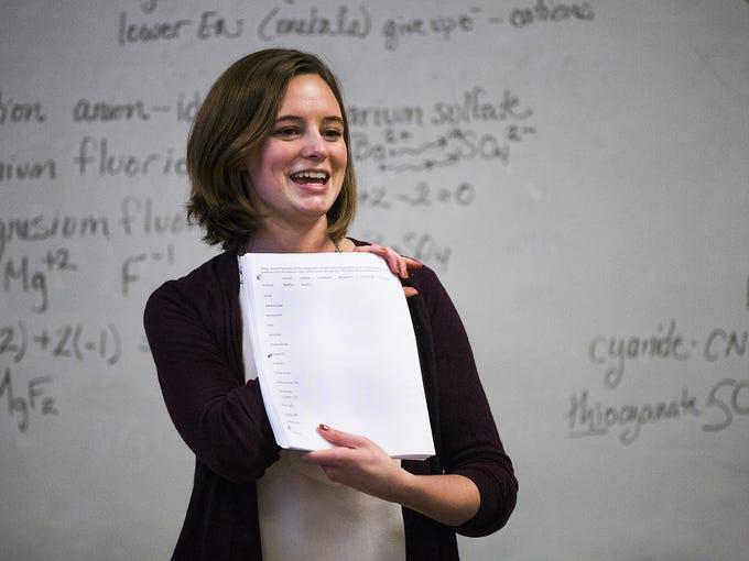 Chemistry teacher Lauren Cooney teaches 8th grade chemistry