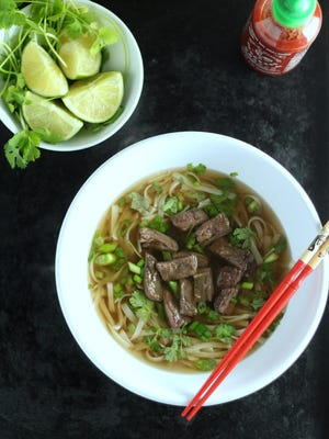 The two important factors in pho broth are bones and slow cooking.