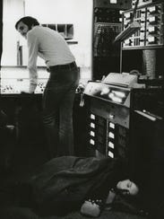 Joan Baez, right, and Norbert Putnam record at Quadrophonic