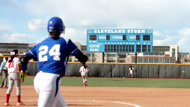 Kaylee Hewitt (24) watches her two-run homer leave the yard in the sixth inning of Friday's game against Valencia.