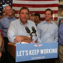 New Jersey Gov. Chris Christie speaks at a support rally for Florida Gov. Rick Scott on Friday, Sept. 12 in Panama City Beach. Christie is helping Scott campaign in his tight race with Republican-turned-Democrat former Gov. Charlie Crist.