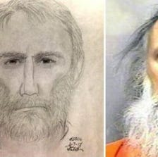 Alexandria murder suspect sketch (L) and Charles Severance (R)