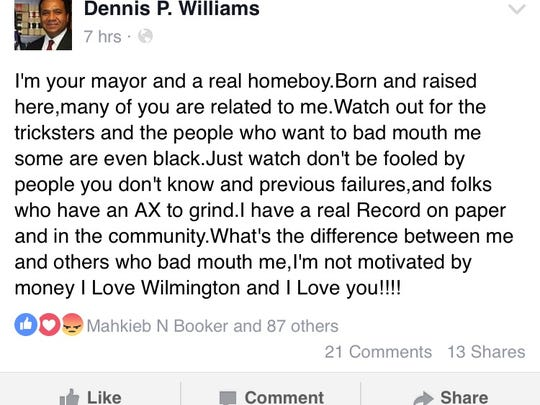 A screen capture of Wilmington Mayor Dennis P. Williams' Facebook profile taken Friday is shown.