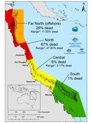 The map, detailing coral loss on Great Barrier Reef, shows how mortality varies enormously from north to south.