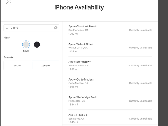 Screengrab of out-of-stock iPhone X's.