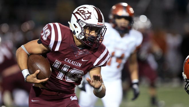 Calallen's Alec Brown carries the ball for a touchdown in the third quarter of the game against Mercedes on Friday, November 18, 2016 at Javelina Stadium in Kingsville, TX.