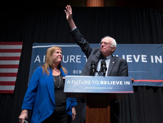 In this Feb. 16, 2016, photo, Jane Sanders watches