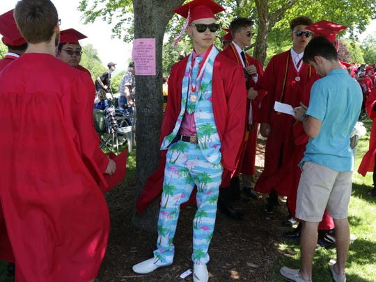 Sheboygan South graduate Sam Kuptz sports a flamingo