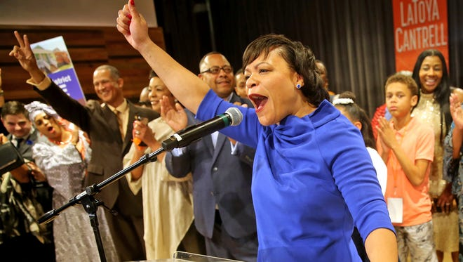 LaToya Cantrell celebrates her victory in the New Orleans mayoral election during her election party at the New Orleans Jazz Market in Central City on Saturday, Nov. 18, 2017, in New Orleans. Cantrell, a City Council member who gained a political following as she worked to help her hard-hit neighborhood recover from Hurricane Katrina, was the victor Saturday night in an election that will make her the first woman mayor in New Orleans' history.