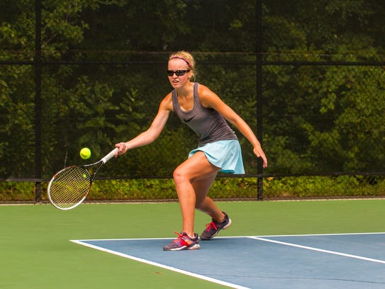 Lexi Fischer competes in the Girls 18 Singles Tournament