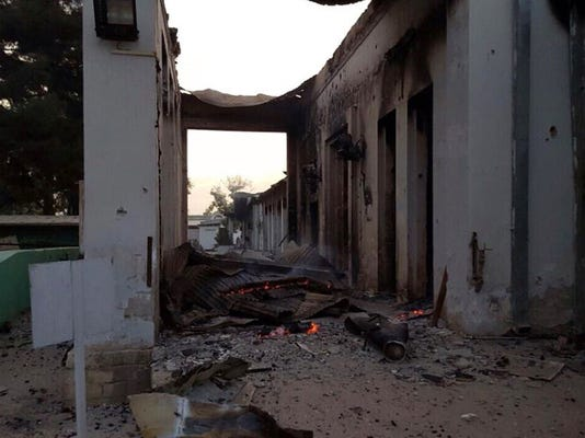 The burned Doctors Without Borders hospital is seen after explosions in the northern Afghan city of Kunduz, Saturday.
