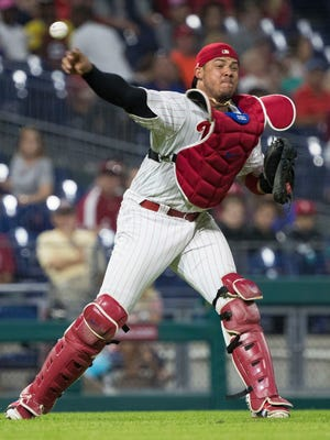 Philadelphia Phillies catcher Jorge Alfaro (38) throws to first for the final out of a victory against the Atlanta Braves at Citizens Bank Park.
