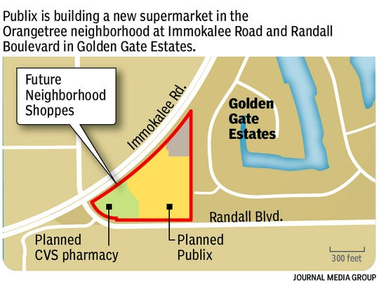 A Publix store and a few small retail shops, right, are under construction on the corner of Immokalee Road and Randall Boulevard in Golden Gate Estates.