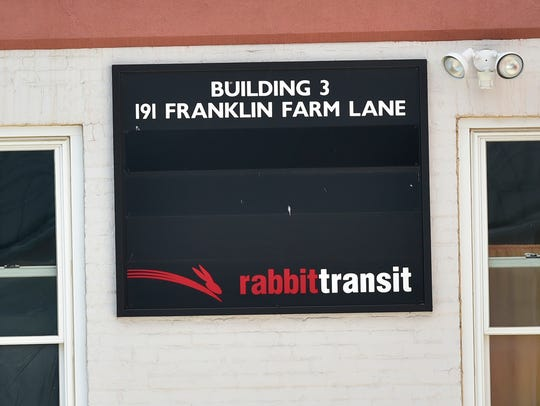 A Rabbit Transit bus sits at headquarters off Franklin