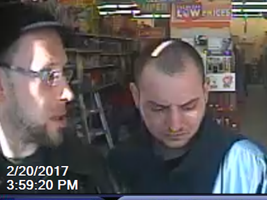 City Police are seeking two men who may have information about a robbery of an elderly man that took place on Corlies Avenue in February.