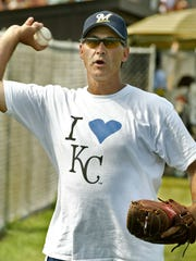"Former Norwalk High School player Mike Boddicker offers a pitching lesson to an actor in 2006 during filming of ""The Final Season."" Boddicker played for both the Royals and the Orioles."