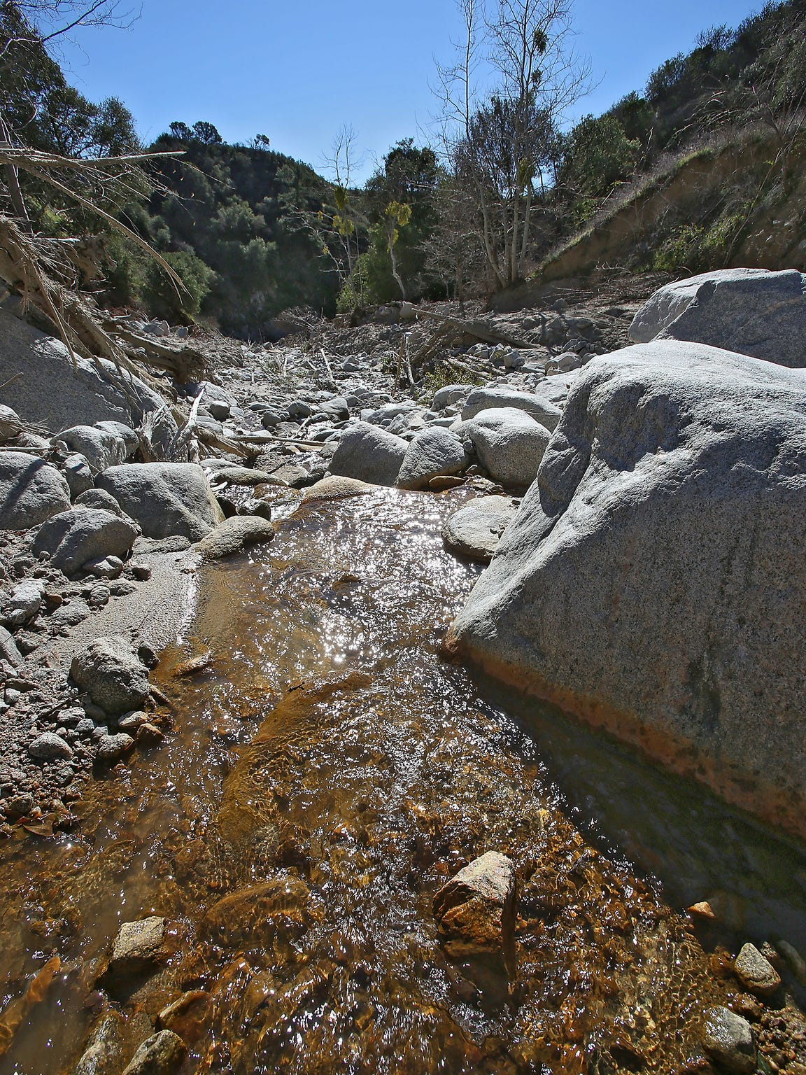Water flows down Strawberry Creek in the mountains north of San Bernardino.