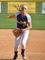 Greencastle's Ally Brown throws a pitch during the