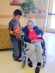 A resident of the Mescalero care center received a handmade Valentine from a young student.