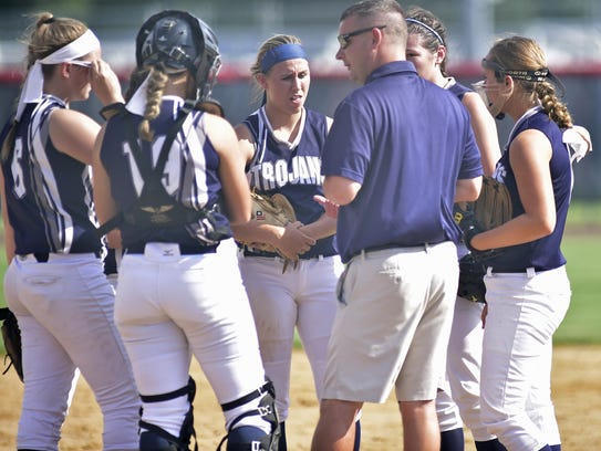Chambersburg coach Chris Skultety talks to his players