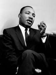 Dr. Martin Luther King Jr. is speaking before a press conference in Nashville May 17, 1962.