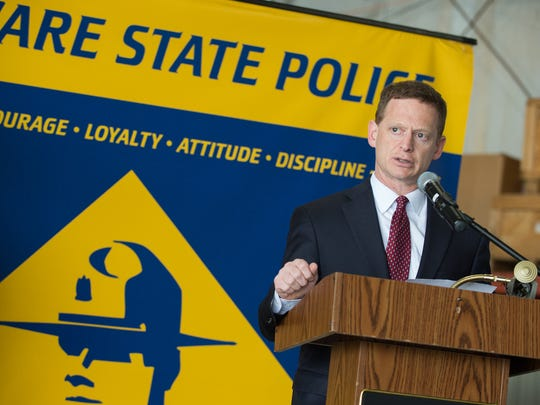 "Delaware Attorney General Matthew Denn speaks during a press conference by the Delaware State Police and the Delaware Department of Justice in this file photo. In response to calls for grand jury investigations of Catholic dioceses in every state, a spokesman for his office said, it ""will actively pursue any legally viable prosecution for sexual offenses, but does not generally comment on the existence or status of pending investigations."""