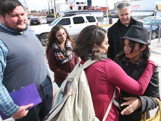 Rosa Mani Arias, right, on Tuesday is greeted by Johana