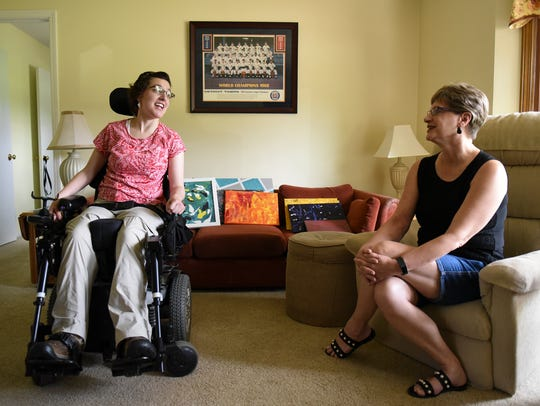 Beth Koenigsknecht, 31, chats with her mom Theresa,