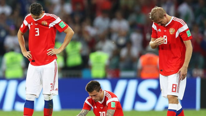 Russian players during the penalty shootout loss to Croatia.
