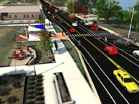 The fourth option to reconfigure lanes on Riverside Drive in downtown St. Clair.